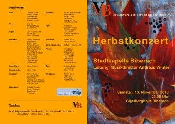 Herbstkonzert am 13.11.2010 - Musikverein Biberach an der Riß eV
