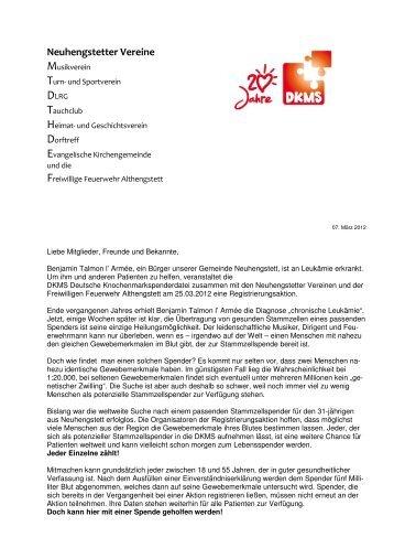 Spendenaufruf und Flugblatt Privat - Musikverein Neuhengstett