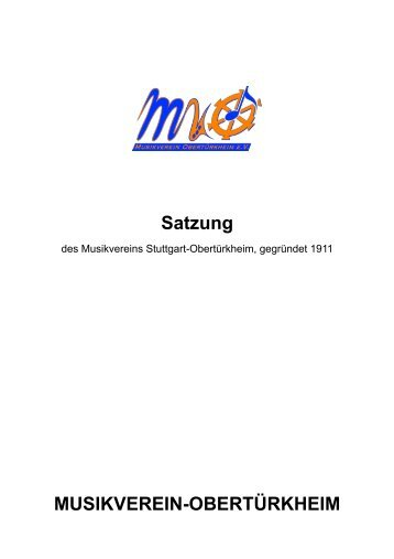 Satzung - Musikverein Obertürkheim eV