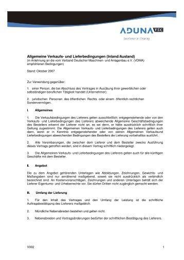 Allgemeine Verkaufs- und Lieferbedingungen AdunaTEC GmbH V ...