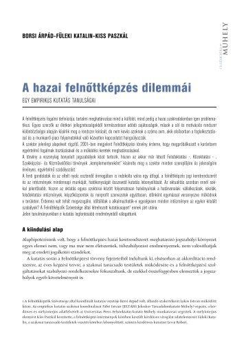 A hazai felnőttképzés dilemmái - Felvi.hu