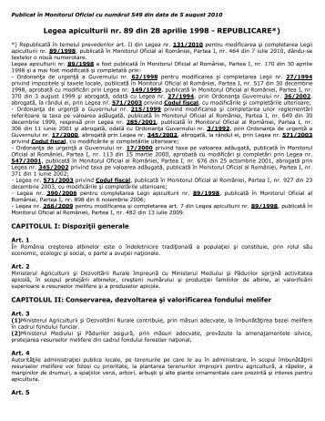 Legea apiculturii nr. 89 din 28 aprilie 1998 - REPUBLICARE*)