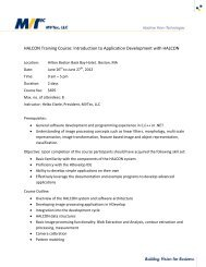 HALCON Training Course: Introduction to Application Development ...