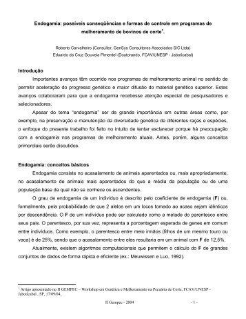Endogamia: possíveis conseqüências e formas de controle ... - Ufersa