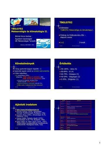 Matematikai-statisztika - Meteorológiai Tanszék