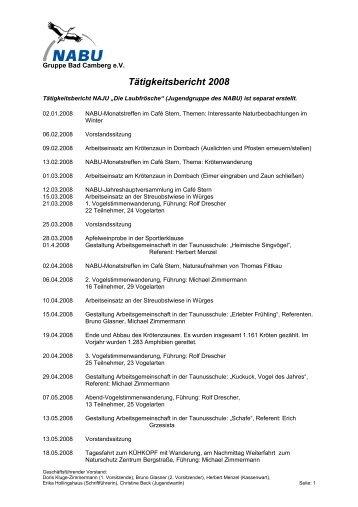 Tätigkeitsbericht 2008 - Nabu Gruppe Bad Camberg