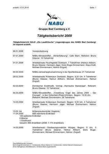 Tätigkeitsbericht 2009 - Nabu Gruppe Bad Camberg