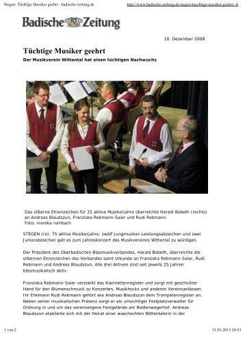 Tüchtige Musiker geehrt - Musikverein Wittental