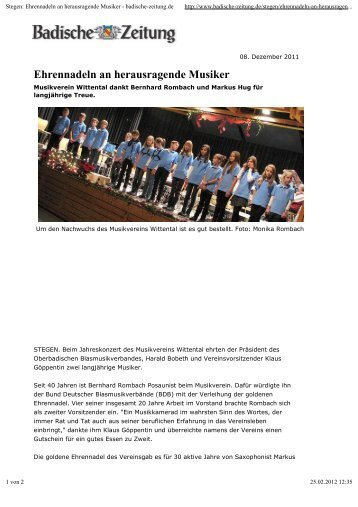 Ehrennadeln an herausragende Musiker - Musikverein Wittental