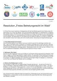 """Resolution """"Freies Betretungsrecht im Wald"""" - NaturFreunde Hessen"""