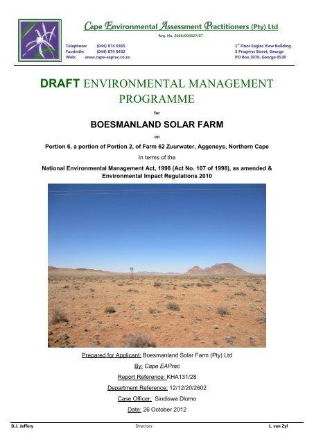 Appendix E: Draft Environmental Management Programme - SAHRA