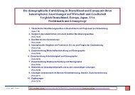 Die demographische Entwicklung in Deutschland und Europa mit ...