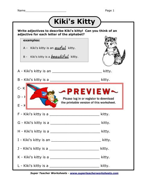 Kiki's Kitty - Super Teacher Worksheets