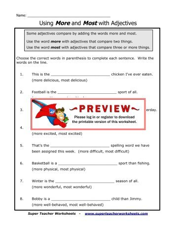 Difference Of Cubes Worksheet Excel Adjectives Can Change Articles  Adjective Worksheet  Kreader  7th Grade Math Problems Worksheets Pdf with Colorado Child Support Calculator Worksheet Pdf Using More And Most With Adjectives  Super Teacher Worksheets Transformations In Math Worksheets