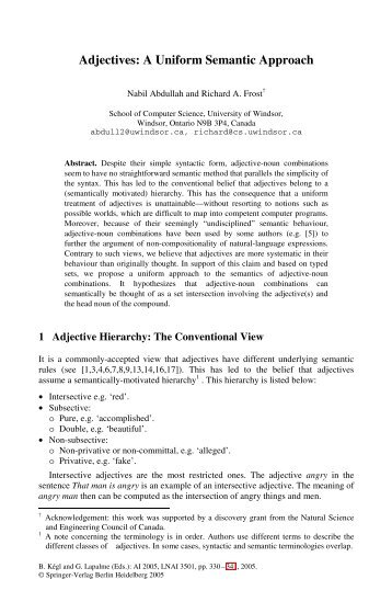 Adjectives: A Uniform Semantic Approach - University of Windsor