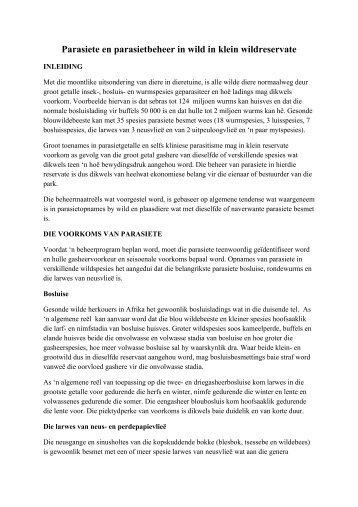 Parasiete en parasietbeheer in wild in klein ... - Landbou.com