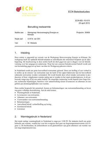 ECN Beleidsstudies Benutting restwarmte 1. Inleiding 2 ...