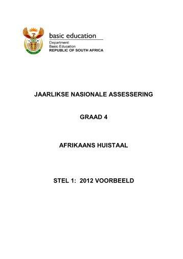 jaarlikse nasionale assessering graad 4 afrikaans huistaal stel