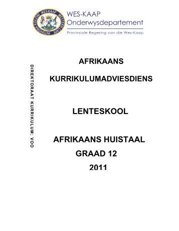 LENTESKOOL AFRIKAANS HUISTAAL GRAAD 12 2011