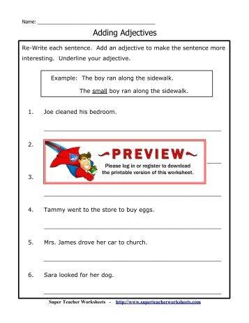 Super teacher worksheet on adjectives kidz activities diagramming sentences with adjectives super teacher worksheets ccuart Image collections