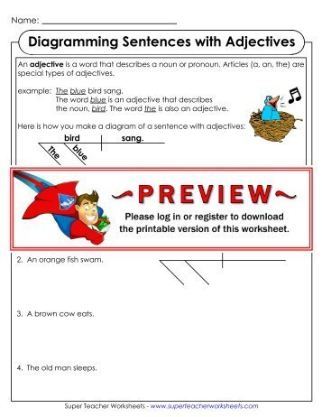 Adjectives super teacher worksheets diagramming sentences with adjectives super teacher worksheets ccuart Image collections