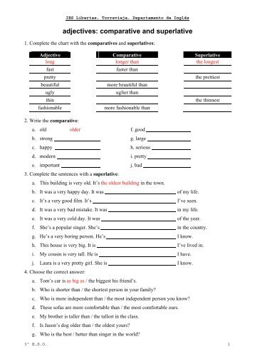 comparative and superlative advanced exercises pdf