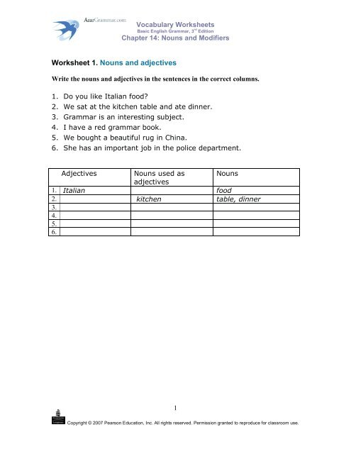 Identifying Adjectives   3rd Grade Adjective Worksheets as well Adjectives Worksheets   Adjectives or Adverbs Worksheets further Know Your Suffi  Make Adjectives into Nouns 1 Worksheet   EdPlace furthermore  further  furthermore 18 Best Images of Identifying Nouns Verbs Adjectives Worksheet   3rd furthermore 13 14 Second Semester Grammar 1   simplebooklet together with Worksheet 1  Nouns and adjectives   AzarGrammar further noun worksheets middle as well  moreover Collection Of Free Noun Verb Adjective Worksheet Ready To Download further Nouns worksheets as well adjectives worksheets for grade 2 besides Words Used As Nouns And Adjectives Worksheet Luxury High furthermore Second First Grade Grammar Worksheets Nouns  mas In A  ma Series moreover . on nouns used as adjectives worksheet