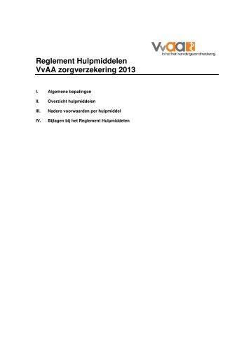 Reglement Hulpmiddelen VvAA zorgverzekering 2013