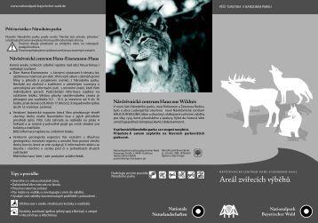 """Leták """"Areál zvířecích výběhů"""" - Nationalpark Bayerischer Wald"""