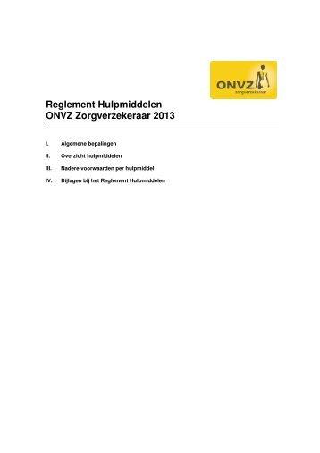 Reglement Hulpmiddelen ONVZ Zorgverzekeraar 2013