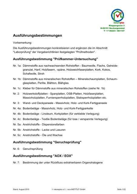 Ausführungsbestimmungen - natureplus e.V.