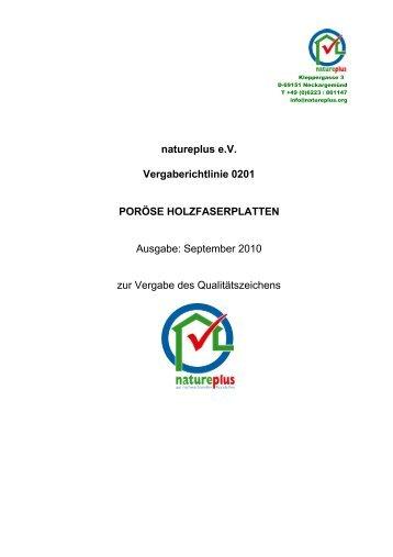 RL0201 Poröse Holzfaserplatten > 230 kg/m³ - natureplus e.V.