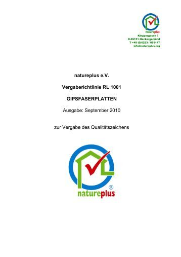 RL1001 Gipsfaserplatten - natureplus e.V.