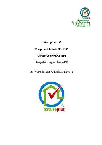 RL1001 Gipsfaserplatten - natureplus e.V.