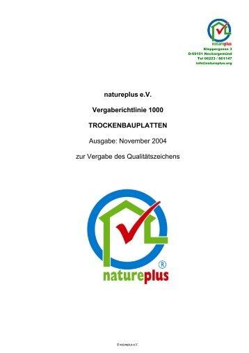 RL1000 Trockenbauplatten - natureplus e.V.