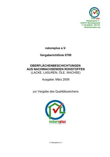 Lacke, Lasuren, Öle, Wachse - natureplus e.V.