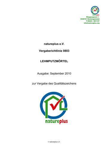 RL0803 Lehmputzmörtel - natureplus e.V.