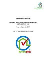 Award Guideline RL0301 THERMAL INSULATION ... - natureplus e.V.