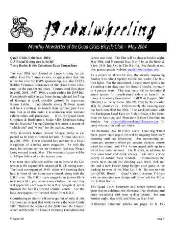 Monthly Newsletter of the Quad Cities Bicycle Club – May 2004
