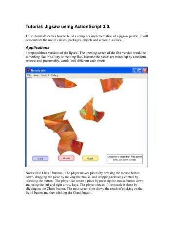 Tutorial: Jigsaw using ActionScript 3.0.