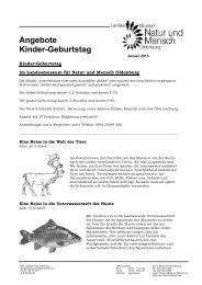 Angebote Kinder-Geburtstag - Landesmuseum Natur und Mensch