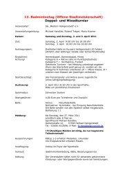 12. Badmintontag (Offene Stadtmeisterschaft) Doppel- und ...