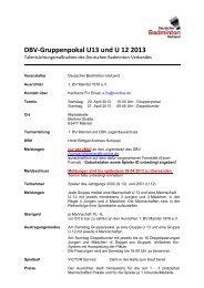 DBV-Gruppenpokal U13 und U 12 2013 - Badminton.de