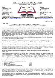 November 2011 - Ekklesia Kasettefonds Trust