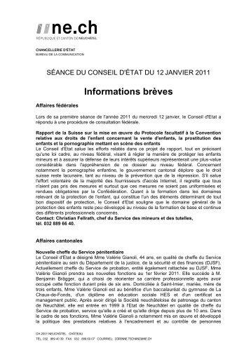 13 janvier 2011 (pdf/93Kb) - Canton de Neuchâtel