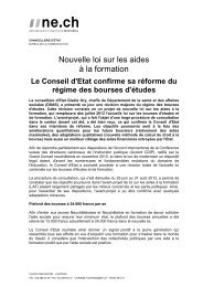 Nouvelle loi sur les aides à la formation - Canton de Neuchâtel