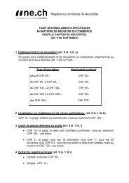 Emoluments spécifiques du registre du commerce - Canton de ...
