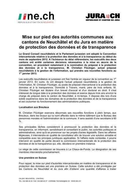 Mise sur pied des autorités communes - Canton de Neuchâtel