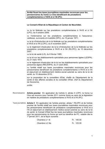 Modèle arrêtés - Canton de Neuchâtel