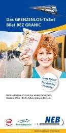Das GRENZENLOS-Ticket Bilet BEZ GRANIC - NEB